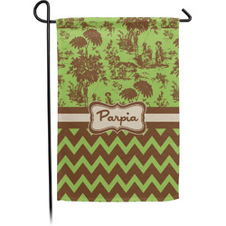 Green & Brown Toile & Chevron Garden Flag - Single or Double Sided (Personalized)