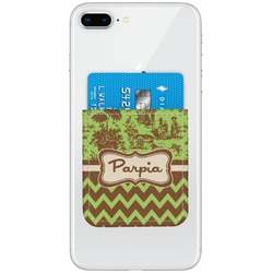 Green & Brown Toile & Chevron Genuine Leather Adhesive Phone Wallet (Personalized)