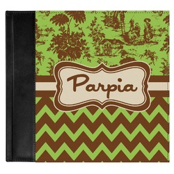 Green & Brown Toile & Chevron Genuine Leather Baby Memory Book (Personalized)