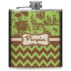 Green & Brown Toile & Chevron Genuine Leather Flask (Personalized)