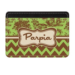 Green & Brown Toile & Chevron Genuine Leather Front Pocket Wallet (Personalized)