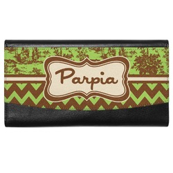 Green & Brown Toile & Chevron Genuine Leather Ladies Wallet (Personalized)