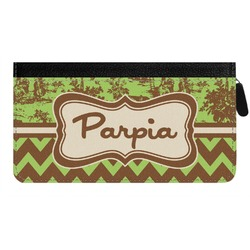 Green & Brown Toile & Chevron Genuine Leather Ladies Zippered Wallet (Personalized)