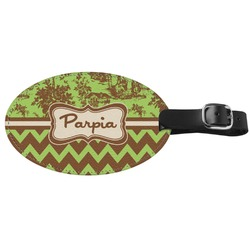 Green & Brown Toile & Chevron Genuine Leather Oval Luggage Tag (Personalized)