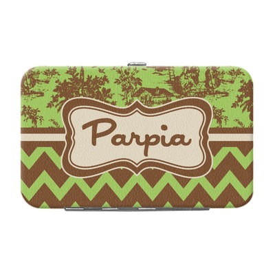 Green & Brown Toile & Chevron Genuine Leather Small Framed Wallet (Personalized)