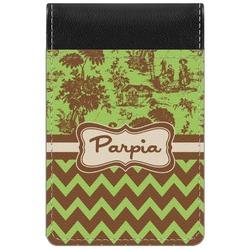 Green & Brown Toile & Chevron Genuine Leather Small Memo Pad (Personalized)