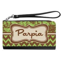 Green & Brown Toile & Chevron Genuine Leather Smartphone Wrist Wallet (Personalized)