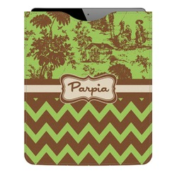 Green & Brown Toile & Chevron Genuine Leather iPad Sleeve (Personalized)