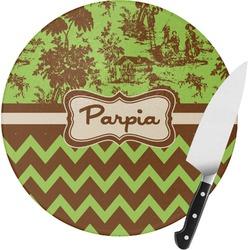 Green & Brown Toile & Chevron Round Glass Cutting Board (Personalized)
