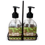 Green & Brown Toile & Chevron Soap & Lotion Dispenser Set (Glass) (Personalized)