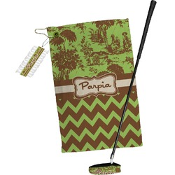 Green & Brown Toile & Chevron Golf Towel Gift Set (Personalized)