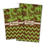Green & Brown Toile & Chevron Golf Towel - Full Print w/ Name or Text