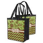 Green & Brown Toile & Chevron Grocery Bag (Personalized)
