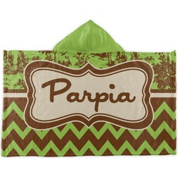 Green & Brown Toile & Chevron Kids Hooded Towel (Personalized)