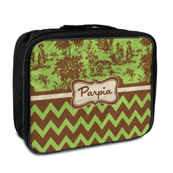 Green & Brown Toile & Chevron Insulated Lunch Bag (Personalized)