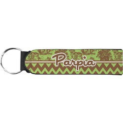 Green & Brown Toile & Chevron Neoprene Keychain Fob (Personalized)
