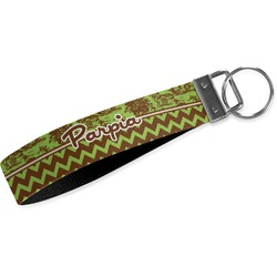 Green & Brown Toile & Chevron Wristlet Webbing Keychain Fob (Personalized)