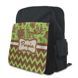 Green & Brown Toile & Chevron Preschool Backpack (Personalized)