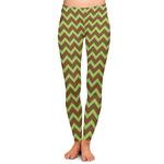 Green & Brown Toile & Chevron Ladies Leggings (Personalized)