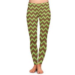 Green & Brown Toile & Chevron Ladies Leggings - Large (Personalized)