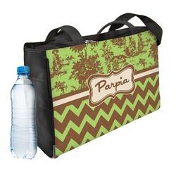 Green & Brown Toile & Chevron Ladies Workout Bag (Personalized)