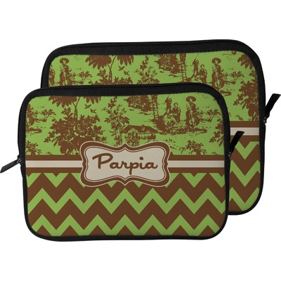 Green & Brown Toile & Chevron Laptop Sleeve / Case (Personalized)