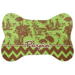 Green & Brown Toile & Chevron Bone Shaped Dog Food Mat (Personalized)