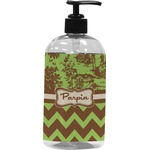 Green & Brown Toile & Chevron Plastic Soap / Lotion Dispenser (Personalized)