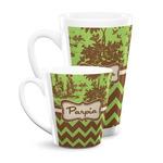 Green & Brown Toile & Chevron Latte Mug (Personalized)