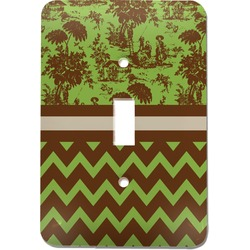 Green & Brown Toile & Chevron Light Switch Cover (Single Toggle) (Personalized)