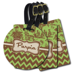 Green & Brown Toile & Chevron Plastic Luggage Tags (Personalized)