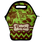 Green & Brown Toile & Chevron Lunch Bag w/ Name or Text