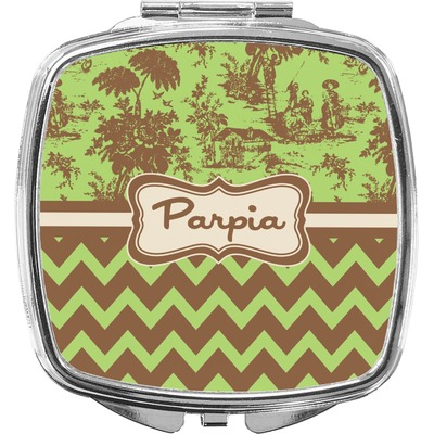 Green & Brown Toile & Chevron Compact Makeup Mirror (Personalized)