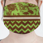 Green & Brown Toile & Chevron Face Mask Cover (Personalized)