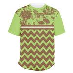 Green & Brown Toile & Chevron Men's Crew T-Shirt (Personalized)