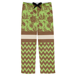 Green & Brown Toile & Chevron Mens Pajama Pants (Personalized)