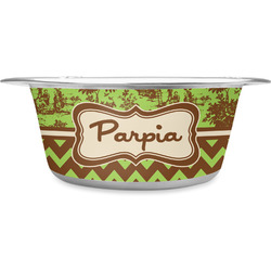 Green & Brown Toile & Chevron Stainless Steel Dog Bowl (Personalized)