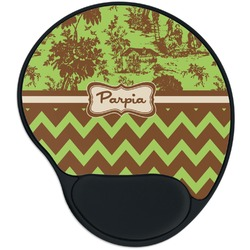 Green & Brown Toile & Chevron Mouse Pad with Wrist Support