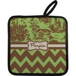 Green & Brown Toile & Chevron Pot Holder w/ Name or Text