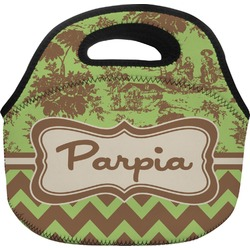 Green & Brown Toile & Chevron Lunch Bag (Personalized)