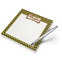 Green & Brown Toile & Chevron Notepad (Personalized)