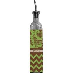 Green & Brown Toile & Chevron Oil Dispenser Bottle (Personalized)