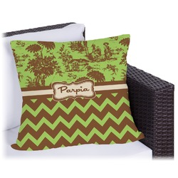 Green & Brown Toile & Chevron Outdoor Pillow (Personalized)