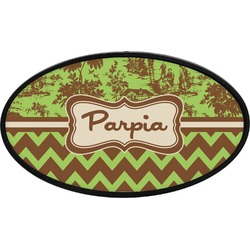 Green & Brown Toile & Chevron Oval Trailer Hitch Cover (Personalized)