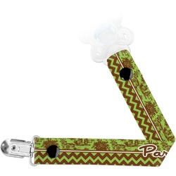 Green & Brown Toile & Chevron Pacifier Clips (Personalized)