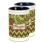 Green & Brown Toile & Chevron Ceramic Pencil Holder - Large