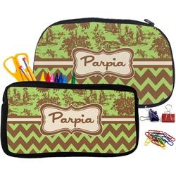 Green & Brown Toile & Chevron Pencil / School Supplies Bag (Personalized)