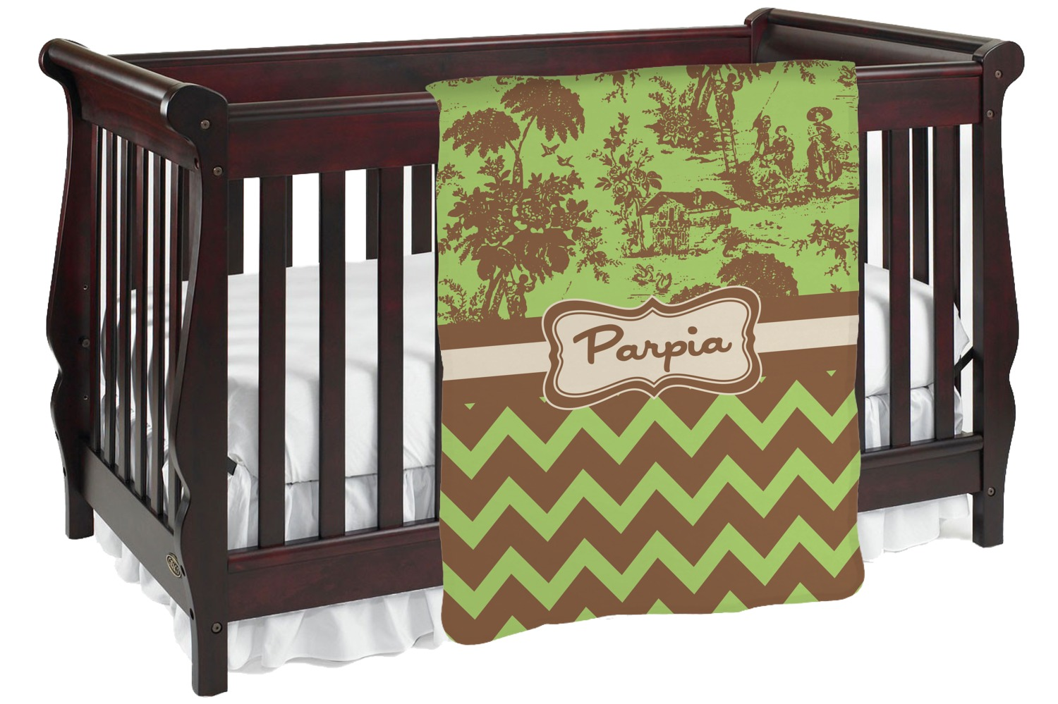 8b5734f066c6 Green & Brown Toile & Chevron Baby Blanket (Personalized ...