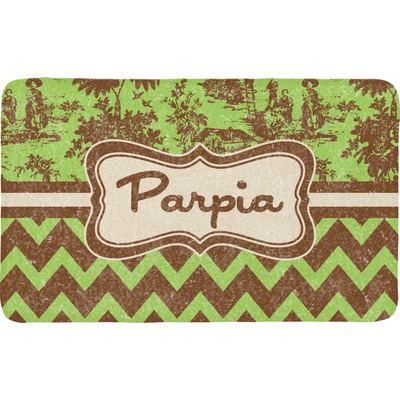 Green & Brown Toile & Chevron Bath Mat (Personalized)