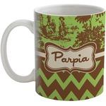 Green & Brown Toile & Chevron Coffee Mug (Personalized)